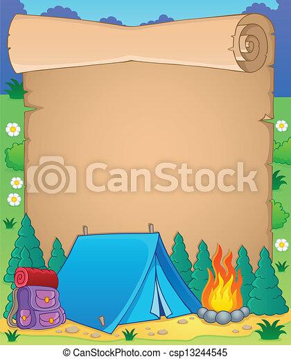 Camping theme parchment 1 - csp13244545