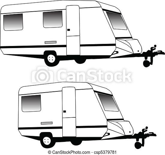Camping Trailer Vector Clip Art