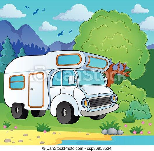 Camping van on lake shore - csp36953534