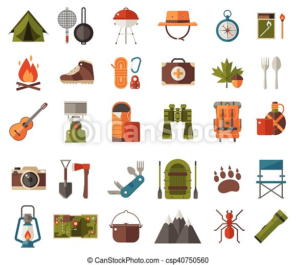 Camping Vector Icons Icon Set Camp Gear And Clip Art