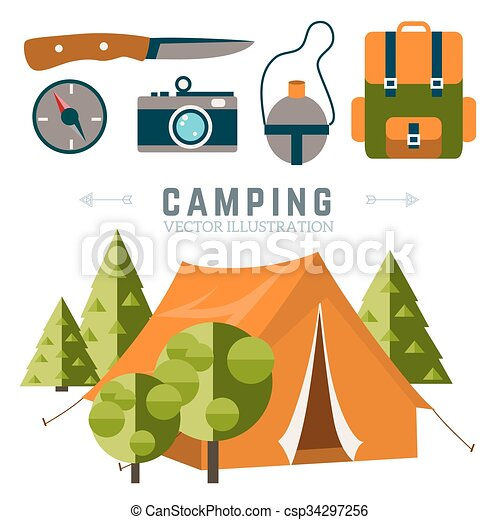 Camping vector illustration  - csp34297256