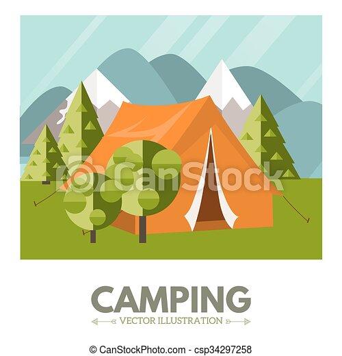 Camping vector illustration  - csp34297258