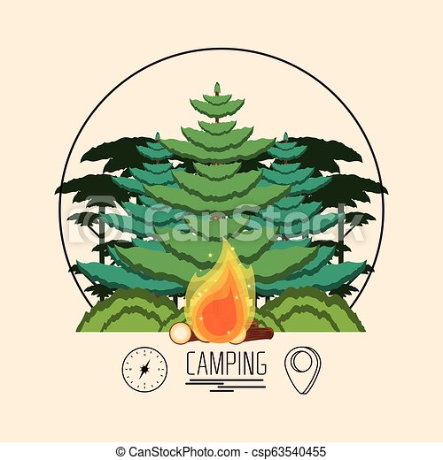 camping zone with trees plant and fire wooden - csp63540455