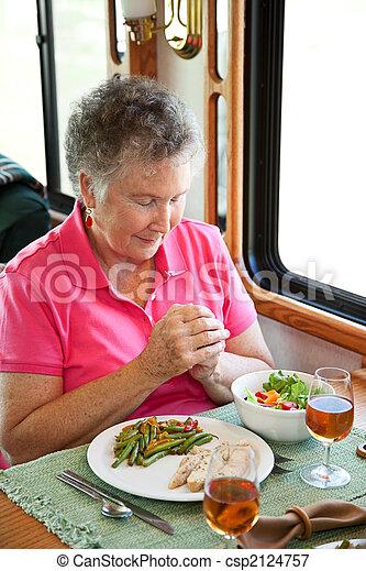 campingbus, frau, sagt, älter, anmut - csp2124757