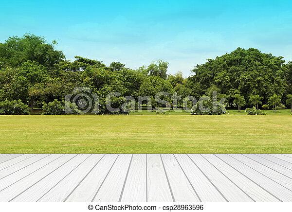 Terraza Blanca Con Césped Y Cielo