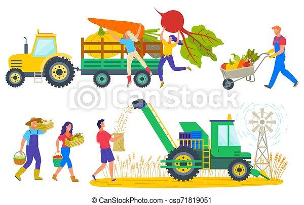 Gente cosechando personajes en la cosecha de campo - csp71819051