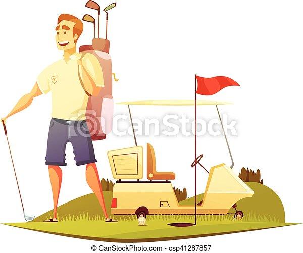 Jugador de golf, ícono retro de dibujos animados - csp41287857