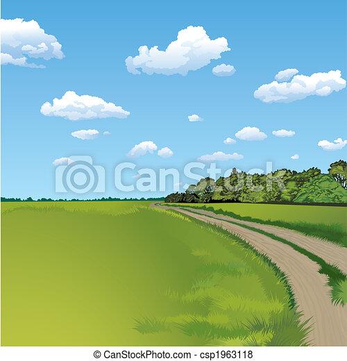 campo, escena rural, camino - csp1963118