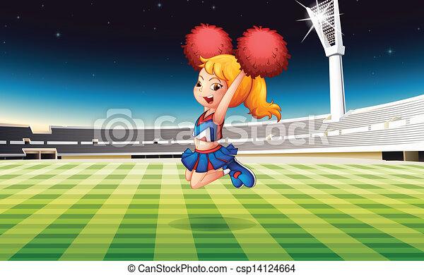 Un campo de fútbol con un animador enérgico - csp14124664