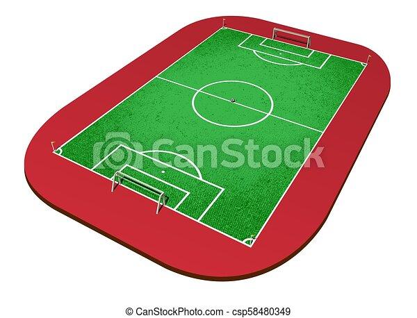 Una visión perspectiva de un campo de fútbol - csp58480349