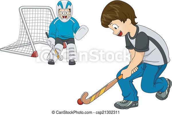 Chicos de hockey interior - csp21302311