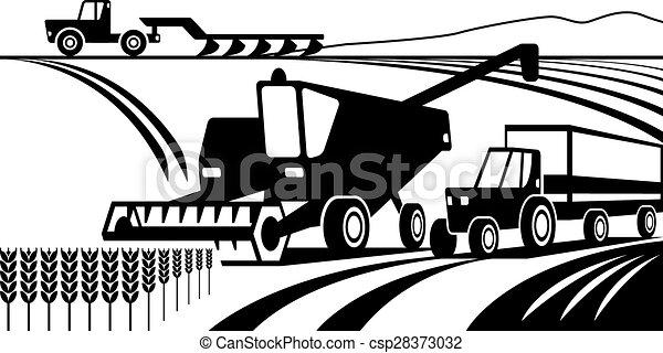 maquinaria agrícola en el campo - csp28373032