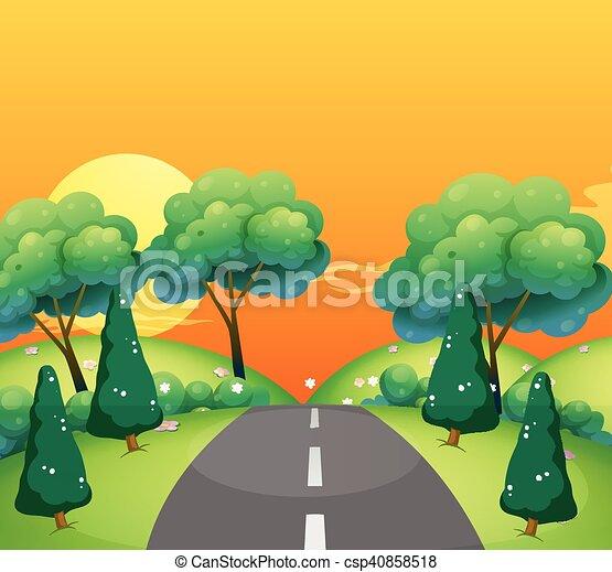 La escena del campo con la carretera al atardecer - csp40858518