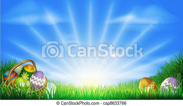 campo, ovos, páscoa, fundo - csp8633766