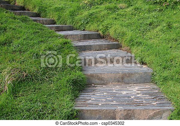 Escaleras de piedra en el campo - csp0345302