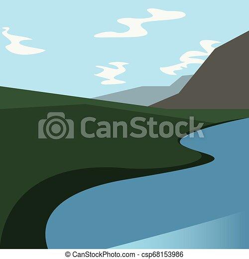 campo, rio, natural, paisagem, montanha - csp68153986