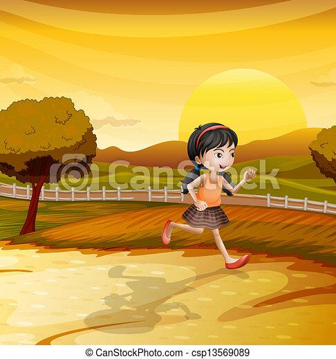 Una chica corriendo por el campo - csp13569089