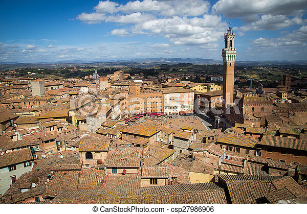 Campo Square in Siena, Italy - csp27986906