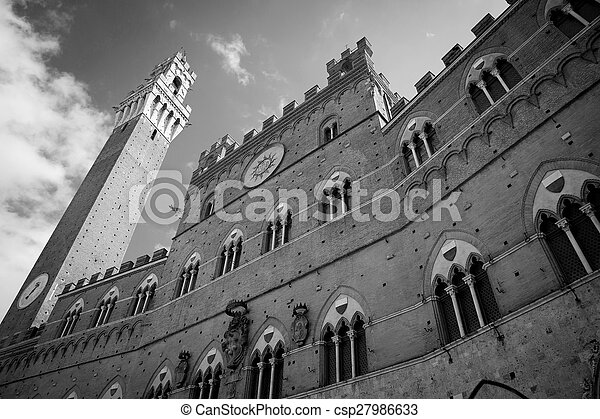 Campo Square in Siena, Italy - csp27986633