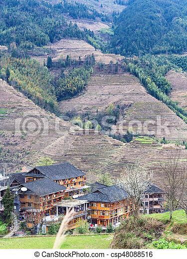 Vista De Casas En El Campo De Terrazas Viaje A China Vista