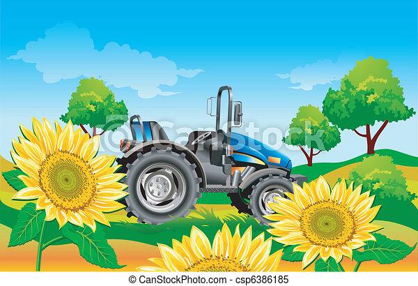 Tractor en campo - csp6386185