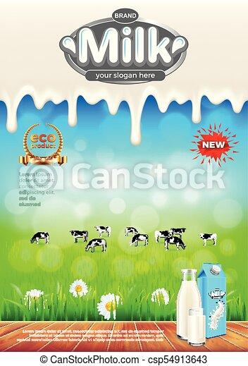 Anuncios de leche. Campo verde y vacas vector de fondo - csp54913643