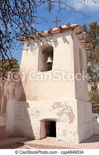 campo, viejo, adobe, argentina., iglesia - csp4949034