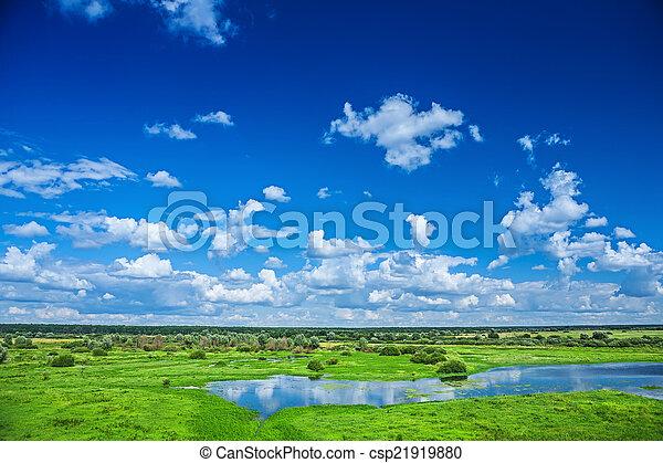 campo, vista, céu, natureza - csp21919880