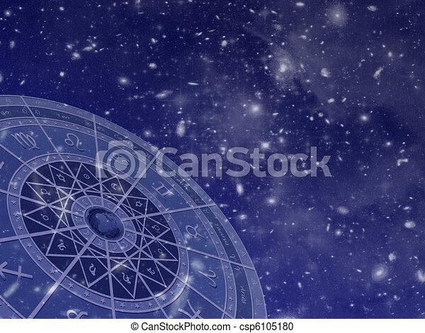 Circulo Zodiaco en el campo estelar - csp6105180