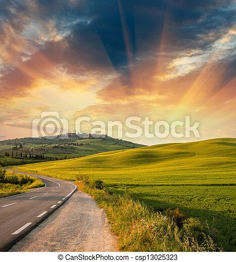 campos, colores, maravilloso, ocaso, primavera - csp13025323