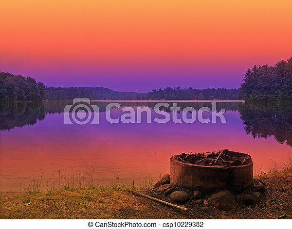 campsite sunset - csp10229382