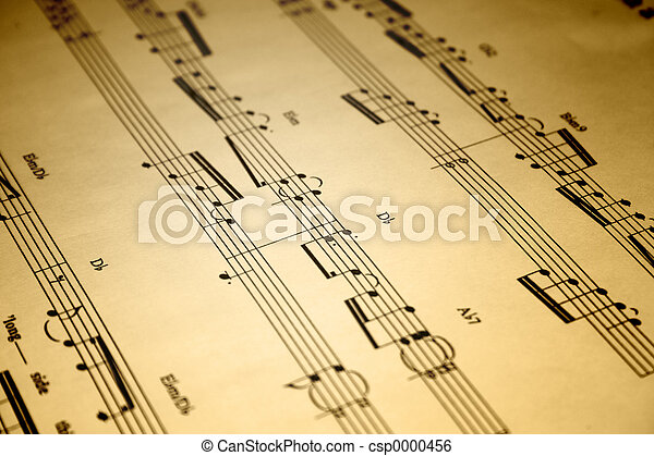 Stock Image of Sheet Music - A close up of an old piece of sheet music