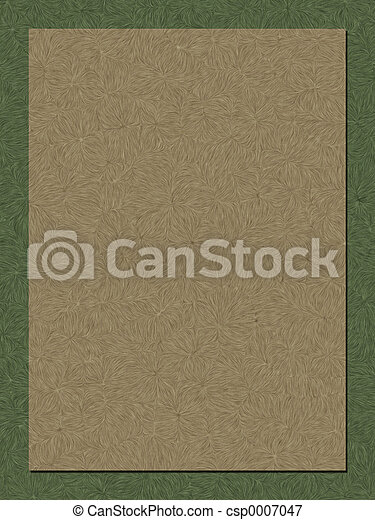 Texture background. Olive swirl border fades to tan with same texture. Faded center for copy.