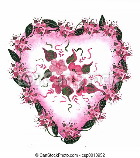 Pink Heart floral