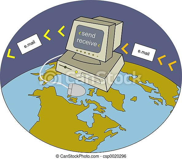 Stock Image of Emailing - Sending and receiving emails across the ...
