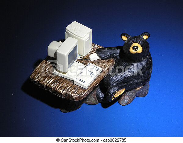 computador, urso - csp0022785