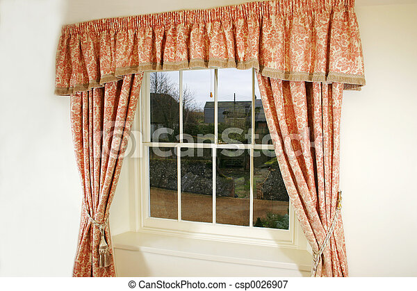 Curtains and window - csp0026907