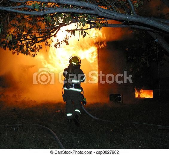 firefighter at blaze - csp0027962