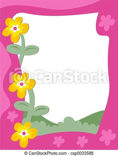 Clip Art of Flowers Border funky flowers frame csp0050232