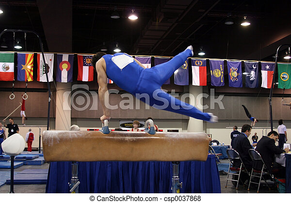 Gymnast on pommel