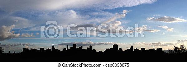 cidade, silueta - csp0038675