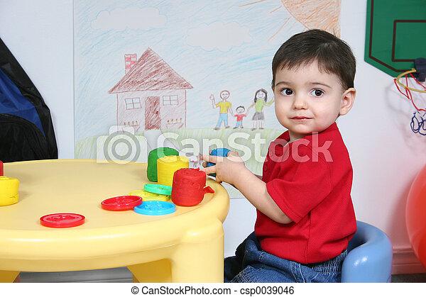 男の子, 幼稚園, 子供 - csp0039046