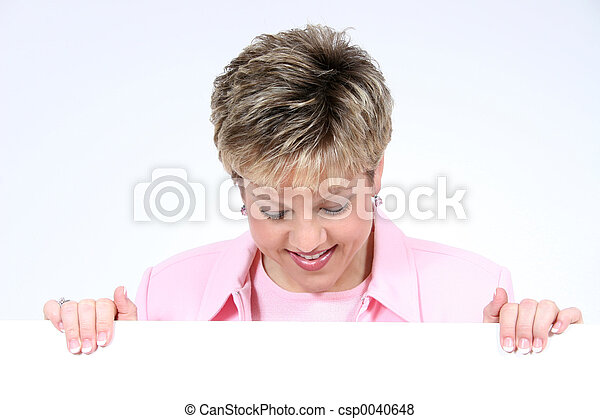 Add Text Woman Holding White Sign Smiling - csp0040648