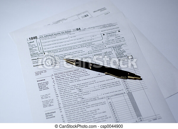 Pen on IRS forms 104 - csp0044900