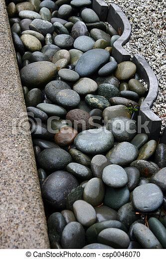 Stock Photography of Rock garden trim River rock garden barrier