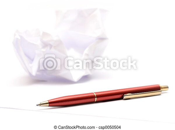 Pen & Wrinkled Paper - csp0050504