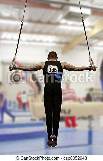 Stock Photos of Iron cross - Gymnast competing on rings csp0052943 ...
