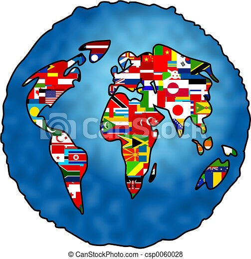 Stock Illustration of Flag Planet - world globe and flags ...