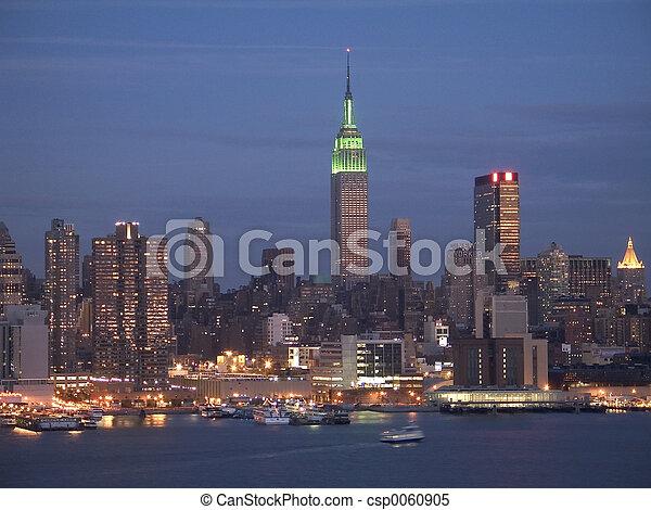 NY Skyline at Night - csp0060905