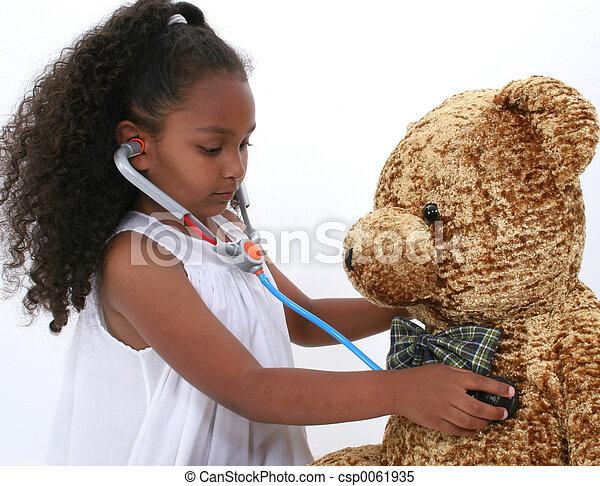 menina, criança, doutor - csp0061935